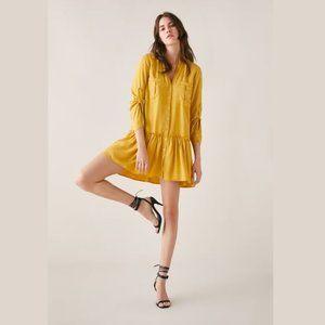 ZARA Mustard Yellow Shirt Dress with Ruffles